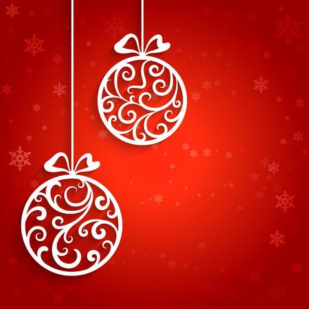 fondo rojo: Bolas ornamentales de Navidad con remolinos de papel, fondo decorativo