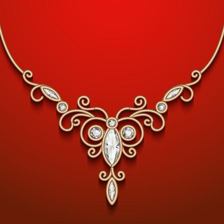 Vintage gold jewelry necklace, jewellery diamond decoration