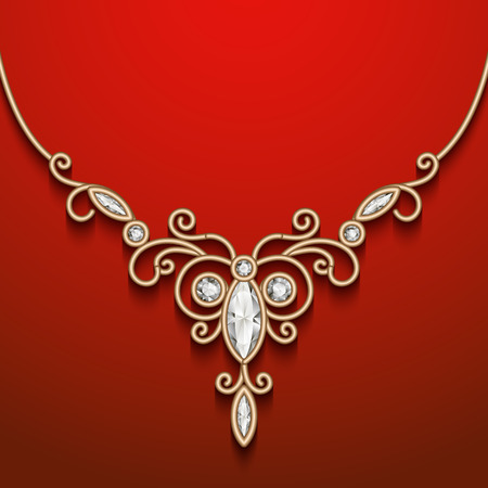 Vintage gold jewelry necklace, jewellery diamond decoration Vector