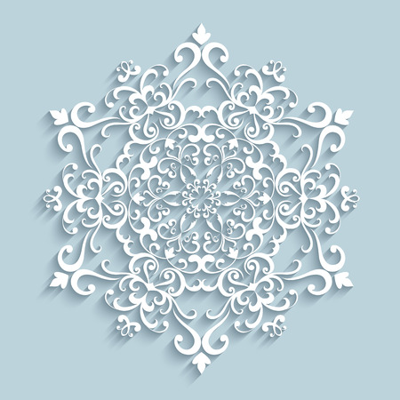 Paper snowflake, lace doily, winter decoration Vector