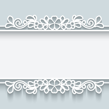 cut flowers: Abstract background with paper dividers, header, lacy ornamental frame