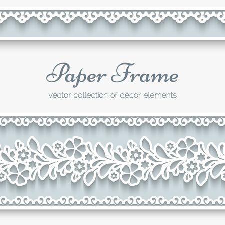 Fondo de papel, marco ornamental de encaje con las fronteras sin costura Ilustración de vector