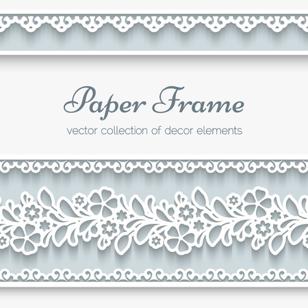 Paper background, ornamental frame with lacy seamless borders