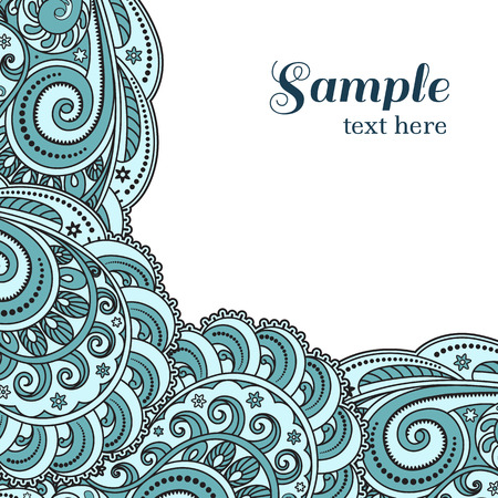 Blue waves background, wavy corner ornament on white Vector