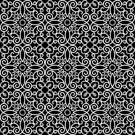 Abstract black and white ornament, lacy texture, seamless pattern Vector