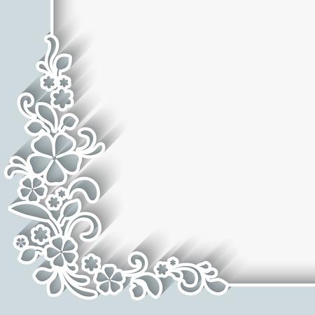 esquineros de flores: Fondo abstracto con el ornamento esquina de papel Vectores