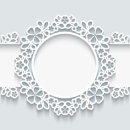 cut flowers: Paper frame with shadow, ornamental lacy label on white background