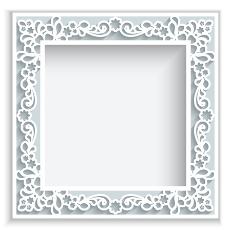 Abstract square frame with paper swirls, ornamental background Çizim