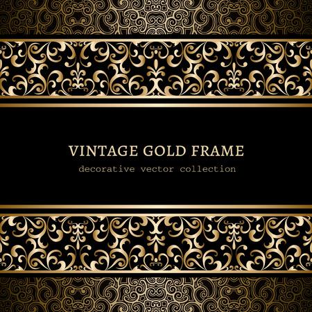 Vintage gold background, ornamental frame with seamless golden borders over pattern Illustration