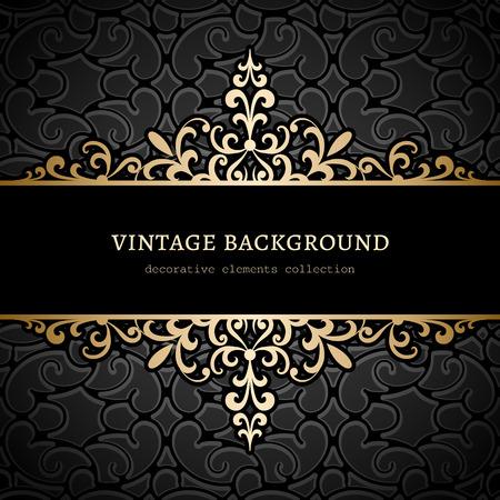 Vintage gold background, divider, header, ornamental frame  イラスト・ベクター素材