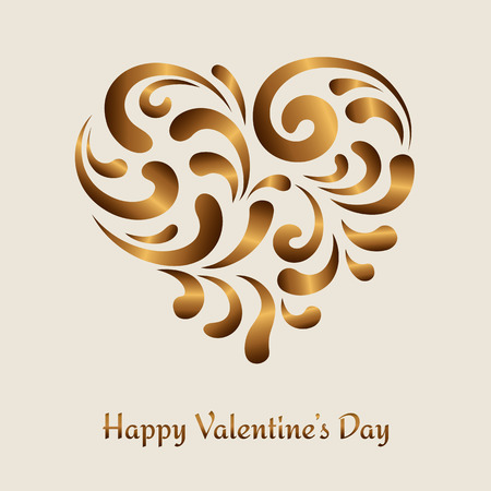 Gold swirls in shape of heart, decoration for Valentine?s day Vector