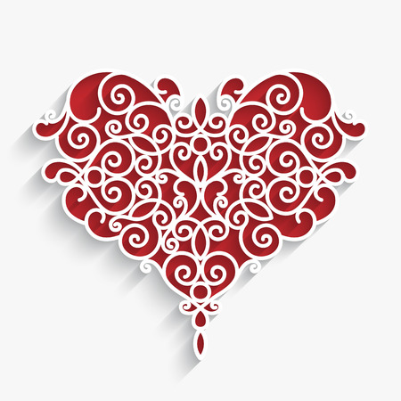 Paper swirls in shape of heart, ornamental decoration on white Vectores