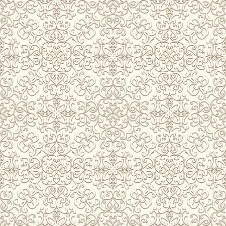 beige background: Vintage beige background, curly ornament, seamless pattern