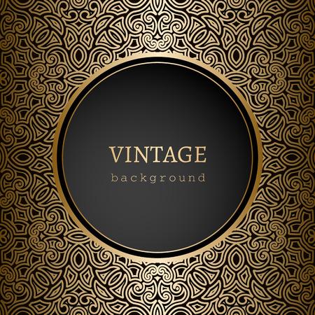Vintage gold background, ornamental frame template Çizim
