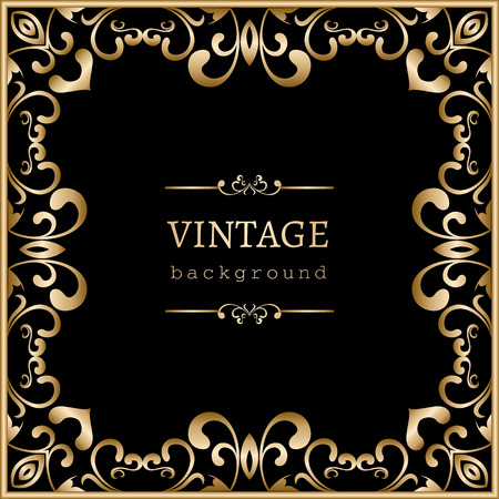 Vintage gold background, square swirly frame on black 矢量图像