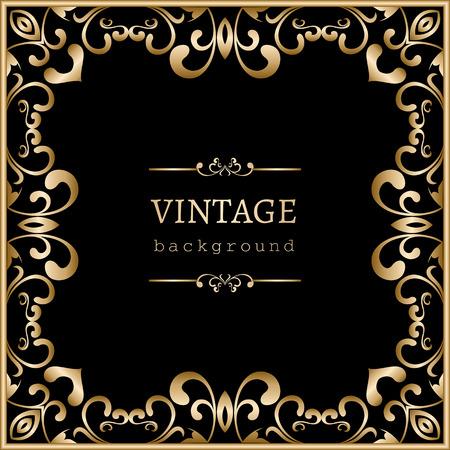 Vintage gold background, square swirly frame on black Ilustração
