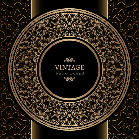 marriage certificate: Vintage background, gold ornamental label, round frame template