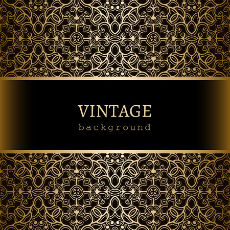 Vintage gold background, ornamental frame with  lace borders Vector