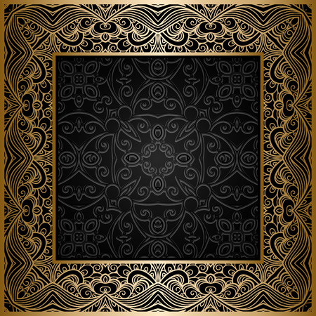 Vintage gold background, square ornamental frame