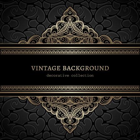 Vintage gold background, divider, header, ornamental lacy frame
