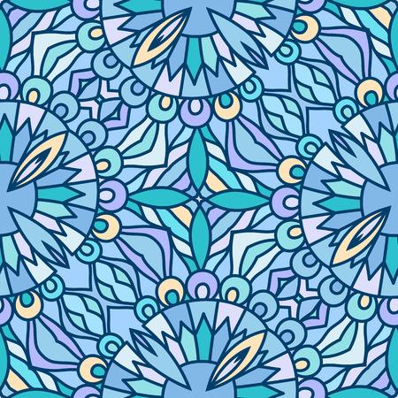 vitrage: Abstract blue mosaic ornament, geometric seamless pattern