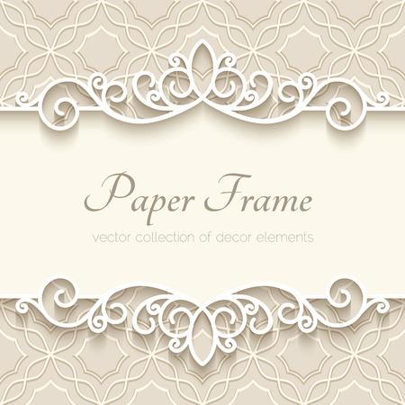紙のボーダー装飾、装飾用フレーム テンプレートとビンテージ背景  イラスト・ベクター素材