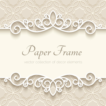 vintage invitation: Vintage background with paper border decoration, ornamental frame template