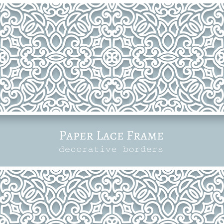 Papier kant achtergrond, sier frame met kanten naadloze grenzen