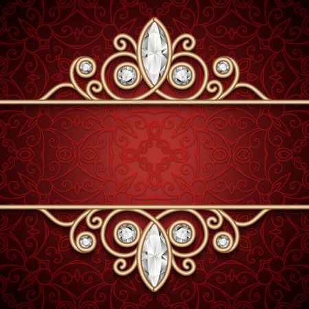 antique jewelry: Vintage gold frame, ornamental jewelry background Illustration