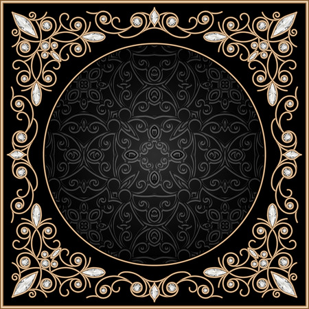 Fondo de oro de la vendimia, marco de la joyería elegante filigrana Ilustración de vector