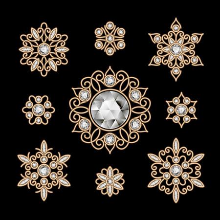 filigree: Elegant jewelry on black, vintage gold decoration, set of filigree diamond vignettes