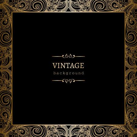 bordes decorativos: Fondo de oro de la vendimia, cuadrado marco ornamental en negro Vectores