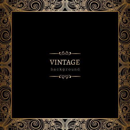 gold swirls: Vintage gold background, square ornamental frame on black Illustration
