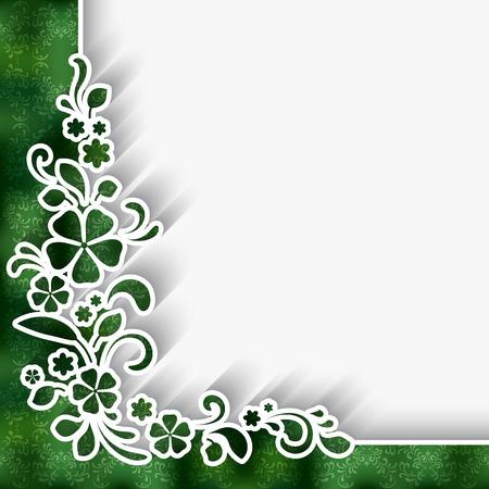 bordes decorativos: Fondo de papel con blanco Ornamento de la esquina de encaje sobre patrón verde