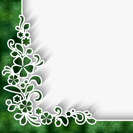 decorative pattern: Paper background with white lace corner ornament over green pattern