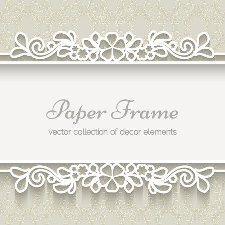 borde de flores: Marco de encaje de papel sobre fondo beige ornamental Vectores