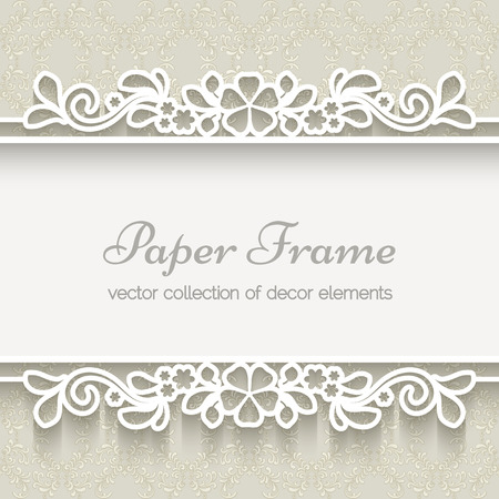 decorative borders: Paper lace frame over ornamental beige background