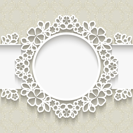 Paper frame with shadow, round vignette, lacy label over ornamental background Ilustração