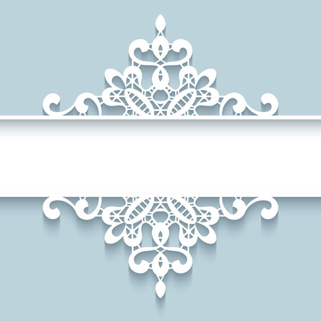 lacework: Abstract paper divider,  lace background, ornamental frame Illustration
