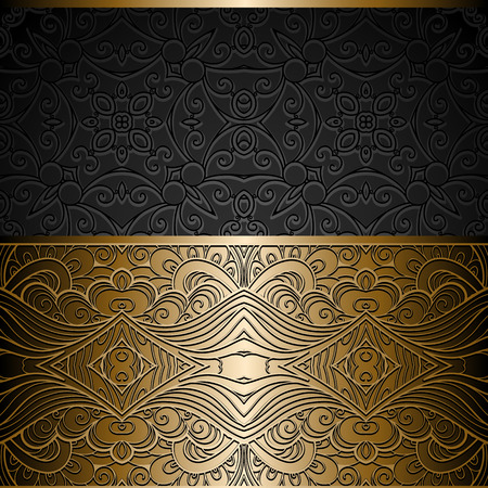 Vintage gold background, ornamental frame with seamless golden border over pattern