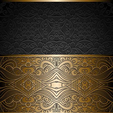 verschnörkelt: Vintage gold Hintergrund, Zierrahmen mit goldenen nahtlose Grenze über Muster