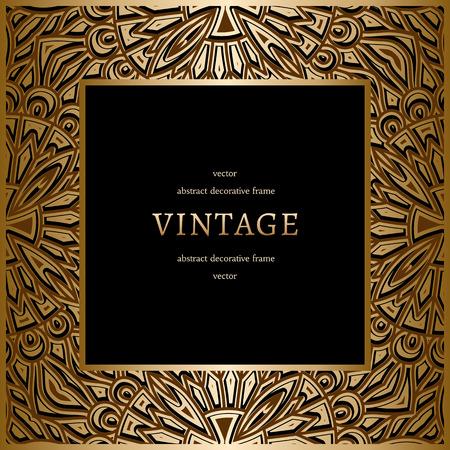 Vintage gold background, square ornamental frame on black  イラスト・ベクター素材