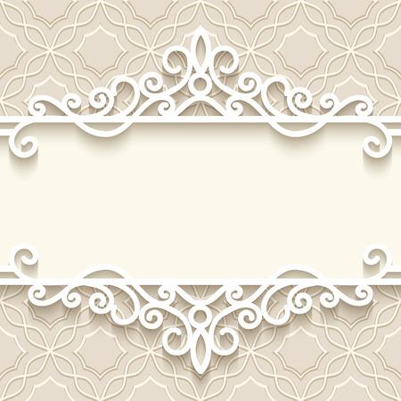 Vintage background with paper border decoration, divider, header, ornamental frame template Vettoriali