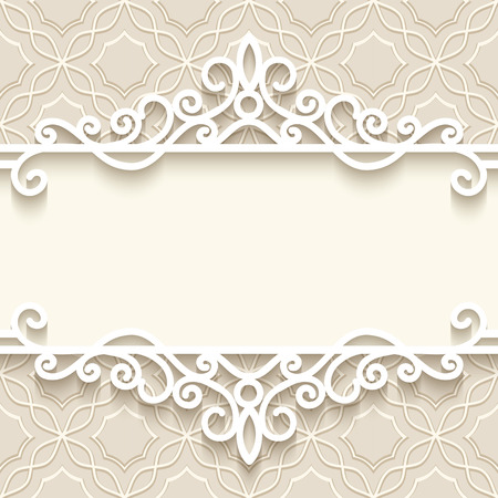 Vintage background with paper border decoration, divider, header, ornamental frame template Ilustração