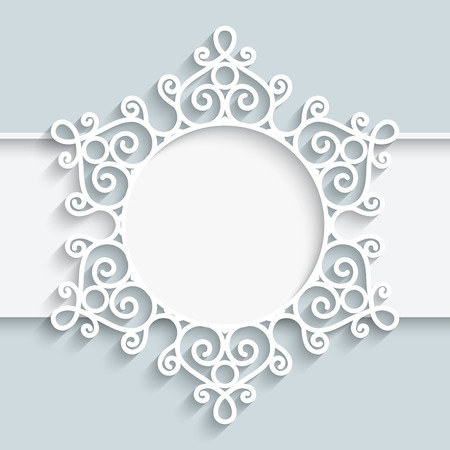 lacy: Paper frame with ornamental lace border,  round vignette, lacy label on white background Illustration