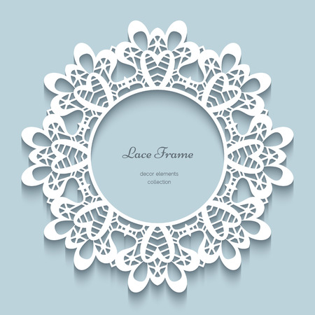 Paper lace background, round vignette, ornamental lacy frame Vector