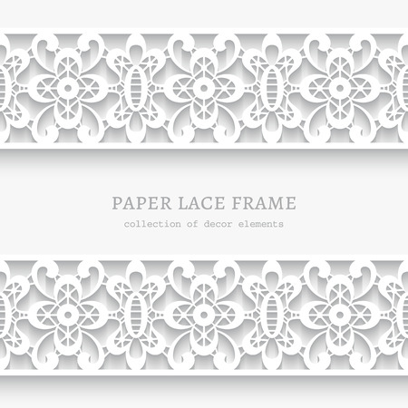lacy: Paper lace background, ornamental frame with lacy seamless borders