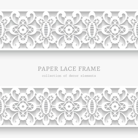 Papier dentelle fond, cadre ornemental avec dentelle frontières sans soudure