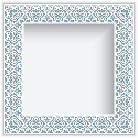 Square frame with paper lace border ornament Vector