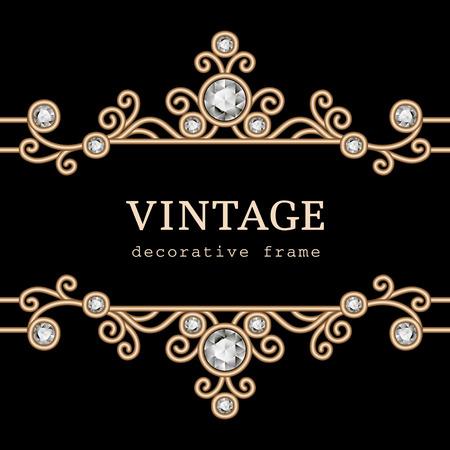 Vintage gold jewelry frame on black background